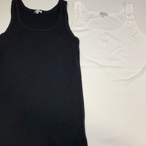 Lot of 2 Splendid Tank Top Black White Large